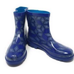 Women's Rubber Ankle Rain Boots, #3160, Blue Geo